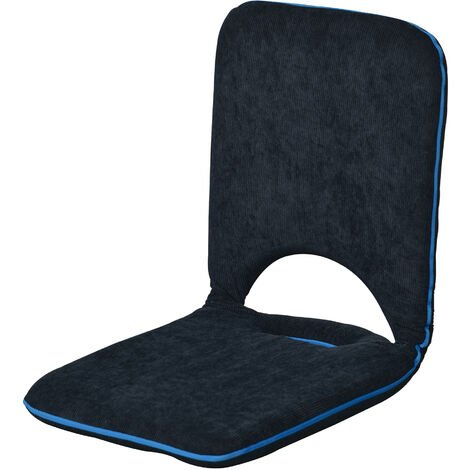 """main image of """"Homcom Foldable Padded Floor Chair with Adjustable Backrest Thick Seat Cushion Lazy Lounge Sofa (Navy Blue)"""""""