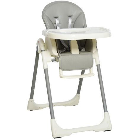 HOMCOM Folding Baby Toddler High Chair Height Back Footrest Adjustable Grey