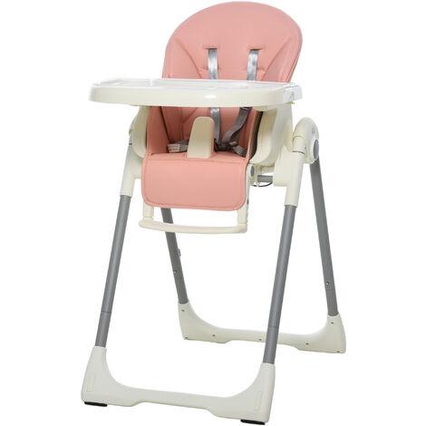 HOMCOM Folding Baby Toddler High Chair Height Back Footrest Adjustable Pink