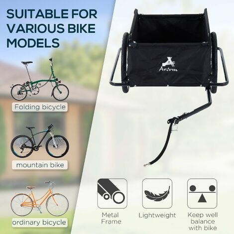 Homcom Folding Bike Trailer Cargo in Steel Frame Storage Carrier - Red and Black