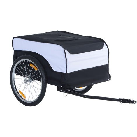 Homcom Folding Bike Trailer Cargo in Steel Frame Storage Carrier - White and Black