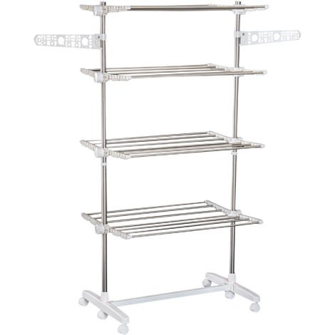 Homcom Folding Cloth Rail Adjustable Garment Rack With Wheels
