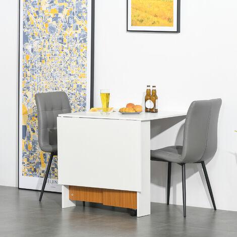 "main image of ""HOMCOM Folding Dining Table Mobile Writing Desk Workstation w/ Casters Teak - Colour & White"""