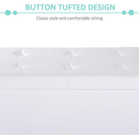 Homcom Folding Faux Leather Storage Cube Ottoman Bench Seat PU Rectangular Footrest Stool Box (Cream White)