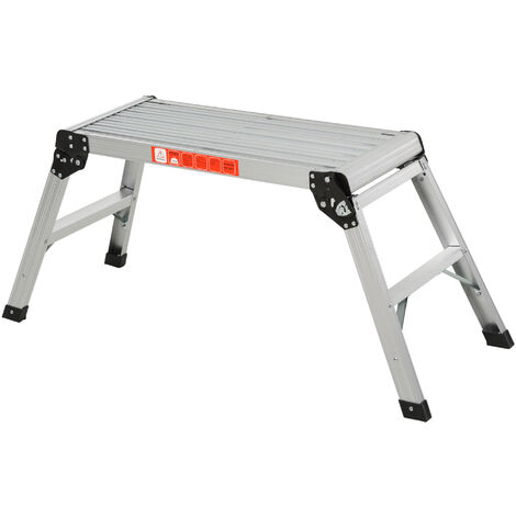 Homcom Folding Step Stool Work Platform 2 Step Ladder Aluminum with Secure Locking 109Lx40Wx50Hcm 150kg