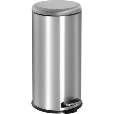 "main image of ""HOMCOM Foot Pedal Bin Stainless Steel Metal Waste Rubbish Kitchen 30L"""