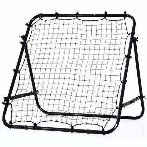 HOMCOM Football Rebounder Net Adjustable Kids Adults Training Shooting Strike Black