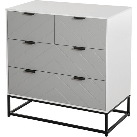 HOMCOM Four Drawer Herringbone Chest of Drawers w/ Metal Handles Freestanding Dresser