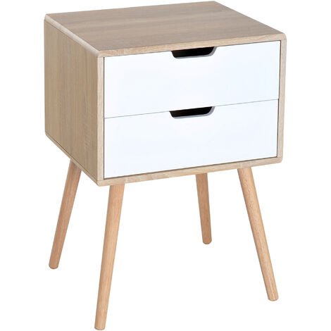 Homcom Free Standing Bedside Cabinet 2 Drawer Storage Shelf w/ Wooden Leg