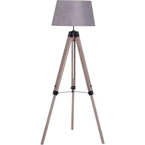 HOMCOM Free Standing Floor Lamp Bedside Light Tripod Holder Fabric - Shade Grey