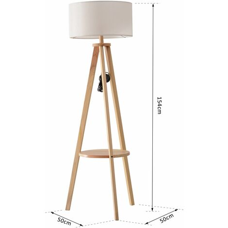 HOMCOM Free Standing Tripod Floor Lamp Bedside Light Reading Light W/ Storage Shelf Cream