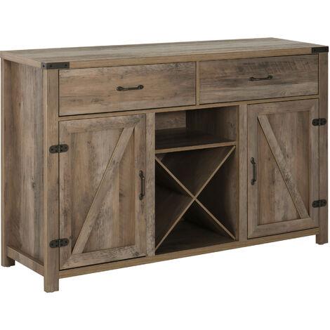 HOMCOM Freestanding 92x140cm Rustic Side Cabinet Drawers Cupboards Wine Holder