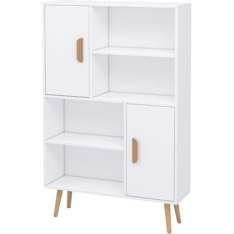 HOMCOM Freestanding Bookcase Shelving Unit Display Storage Cabinet White
