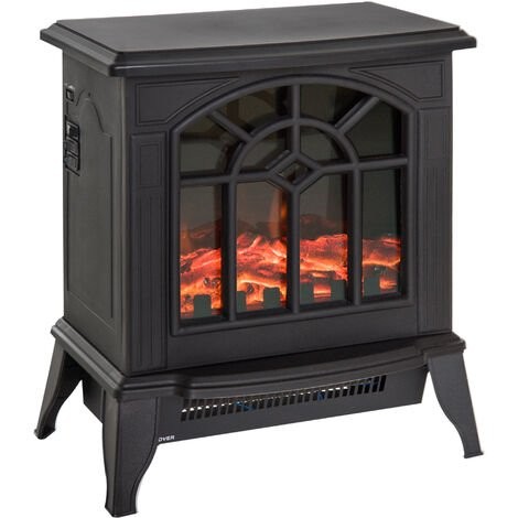 HOMCOM Freestanding Electric Fireplace Heater Stove Realistic Charcoal w/ LED Flame Effect 900W/1800W - Black