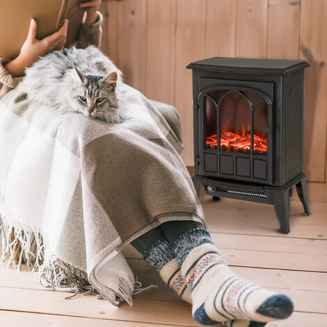HOMCOM Freestanding Electric Fireplace Heater Stove Realistic w/ LED Flame Effect 1000W/2000W - Black