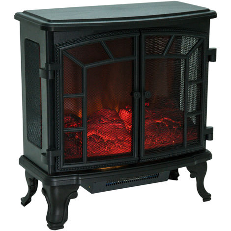 Homcom Freestanding Electric Fireplace Heater W Led Flame Effect