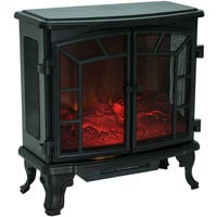 HOMCOM Freestanding Electric Fireplace Heater w/ LED Flame Effect Remote Control 1000W/2000W