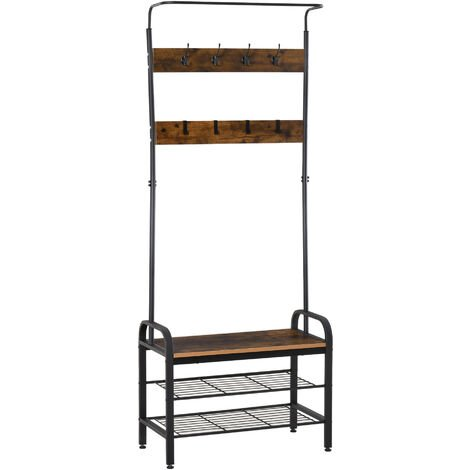 HOMCOM Freestanding Hallway Home Organiser Unit Coats Shoes Bags Retro Metal Frame