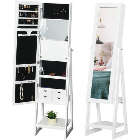 "main image of ""HOMCOM Freestanding Jewellery Storage Armoire w/ 2 Mirrors Drawers Hooks Lights"""