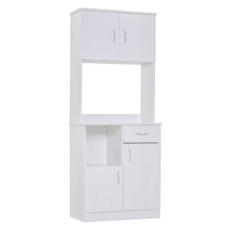HOMCOM Freestanding Kitchen Cabinet Storage Unit Cupboard Organiser White