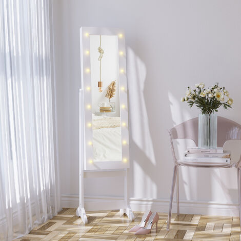 HOMCOM Freestanding LED Mirrored Jewellery Storage Cabinet Unit Armoire White