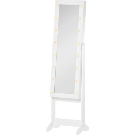 "main image of ""HOMCOM Freestanding LED Mirrored Jewellery Storage Cabinet Unit Armoire White"""