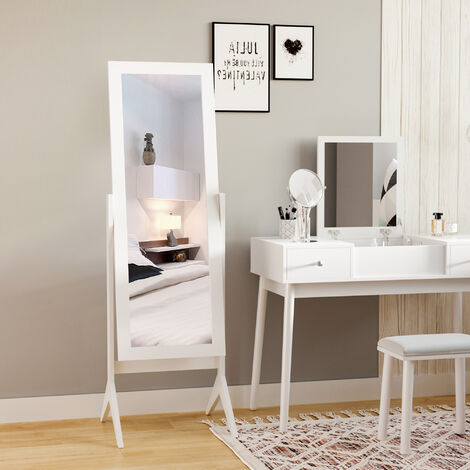 HOMCOM Freestanding Long Dressing Mirror Adjustable Angle 148x47cm White