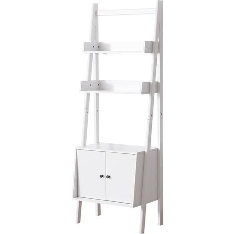 HOMCOM Freestanding Shelf Storage Unit Ladder Display Stand w/ Cabinet White