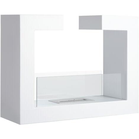 HOMCOM® freistehender Bioethanol Bodenkamin Design Weiß ...