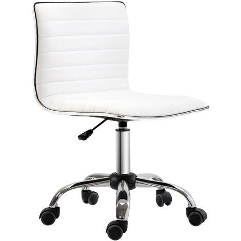 HOMCOM® Friseurstuhl Bürostuhl Stahl PU Weiß