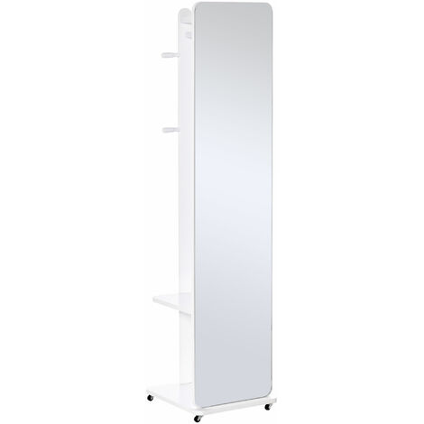 "main image of ""HOMCOM Full Length Dressing Mirror w/ Clothes Rail Shelves Wheels Bedroom White"""