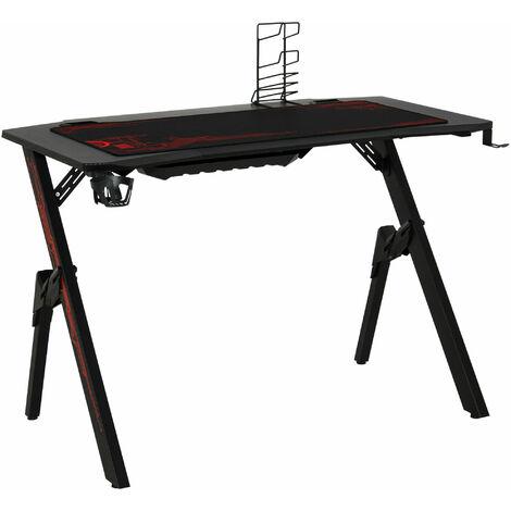 HOMCOM® Gaming Tisch Schreibtisch Büro Kopfhörer Haken Wasser Becherhalter ausgestattet - rot/schwarz