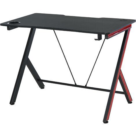 HOMCOM® Gaming-Tisch Schreibtisch Computertisch mit Kopfhörerhaken Stahl + MDF Schwarz - schwarz