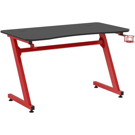 HOMCOM® Gaming Tisch Schreibtisch Z-förmige Computertisch PC tisch mit Getränkehalterung