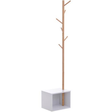 HOMCOM® Garderobenständer mit Sitzbank und Stauraum | Baum-Design | 6 Haken | 40 x 30 x 180 cm | Weiß, Natur