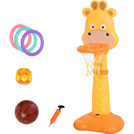 HOMCOM Giraffe Basketball Game Set Kids Child Outdoor Fun Game Adjustable 3-9 Yrs