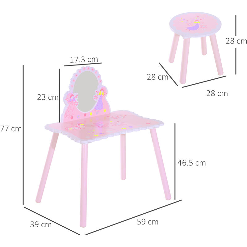 sports shoes ce448 83c66 HOMCOM Girls Pink Wooden Kids Dressing Table & Stool Make Up Desk Chair w/  Mirror