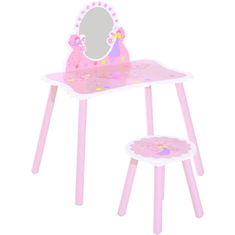 Astounding Homcom Girls Pink Wooden Kids Dressing Table Stool Make Up Gamerscity Chair Design For Home Gamerscityorg