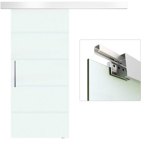 HOMCOM® Glasschiebetür satiniert   Glas, Edelstahl, Aluminium   90 x 205 cm   Silber und Transparent