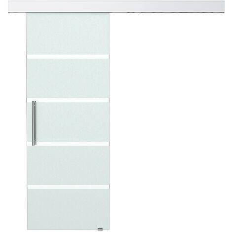 HOMCOM® Glasschiebetür mit Griffstange   Mattiert   77,5 x 205,0 cm - silber/transparent