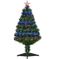Homcom Green Fibre Optic Artificial Christmas Tree Multi colour LED Lights
