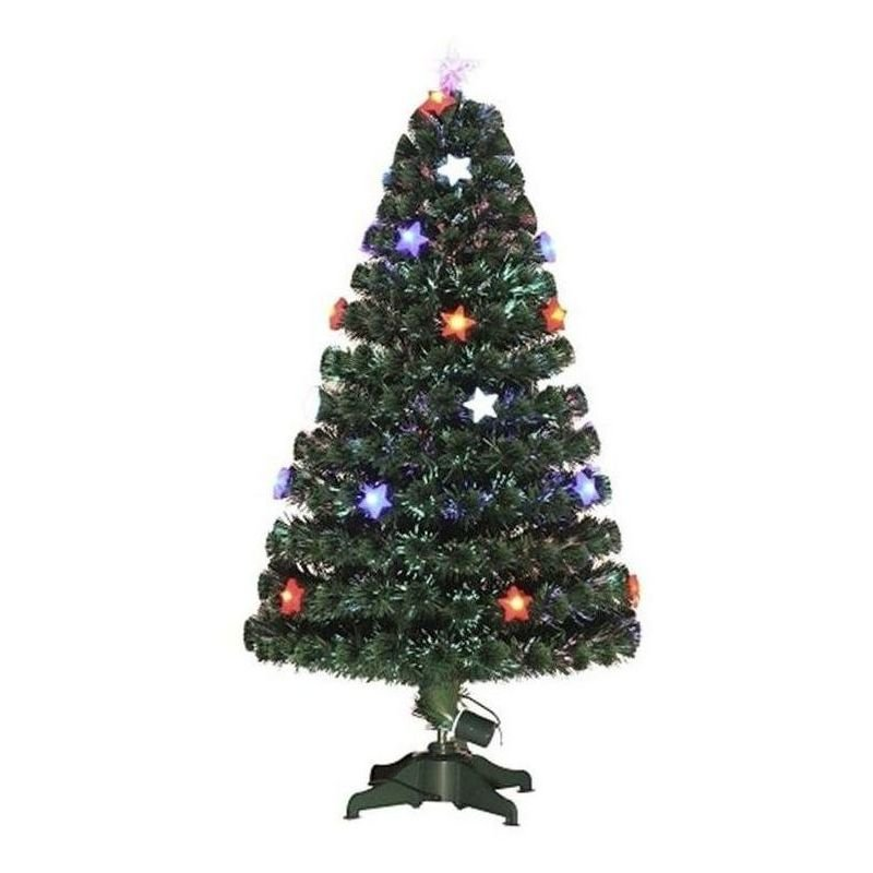 fce1c42c3b8 Homcom 3ft 4ft 5ft Green Fibre Optic Artificial Christmas Indoor Xmas Tree  Multi colour LED Lights Stars (3ft (90cm)) - 02-0763