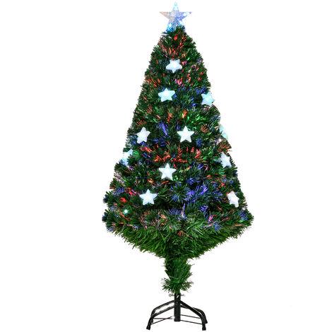 Homcom Green Fibre Optic Artificial Christmas Tree Multi colour LED Lights Stars