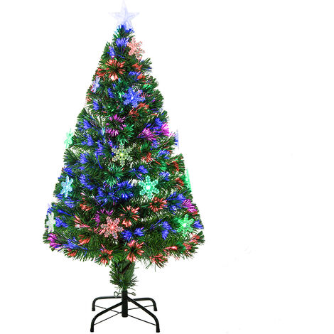 """main image of """"Homcom Green Fibre Optic Christmas Tree Colourful LED Scattered Light w/ Snowflakes Ornaments"""""""