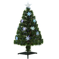 Homcom Green Fibre Optic Christmas Tree Colourful LED Scattered Light w/ Snowflakes Ornaments