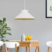 HOMCOM® Hängeleuchte Deckenlampe Industrie Vintage E27 40 W Küche Bar Metall weiß ∅37 x H14,5 cm (ohne Birne)