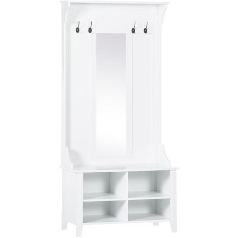 HOMCOM Hallway Furniture Set Shoe Storage Mirror Coat Rack Organiser Shelves