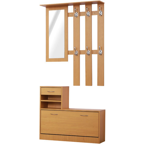 HOMCOM Hallway Furniture Shoes Cabinet Storage Coat Rack Mirror Organiser