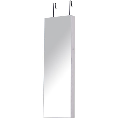 HOMCOM Hanging Mirror Jewellery Storage Cabinet w/ 6 LED Lights White