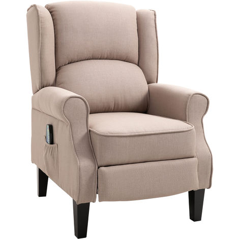 HOMCOM Heated Massage Reclining Armchair w/ Footrest Remote Thick Sponge Beige